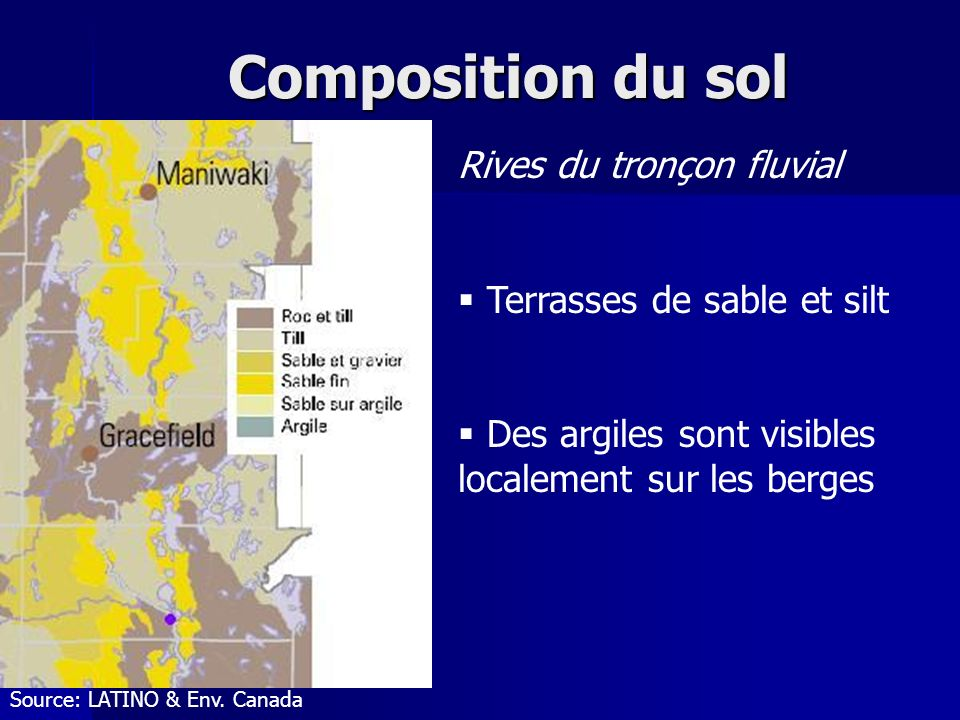 Composition du sol Rives du tronçon fluvial Terrasses de sable et silt