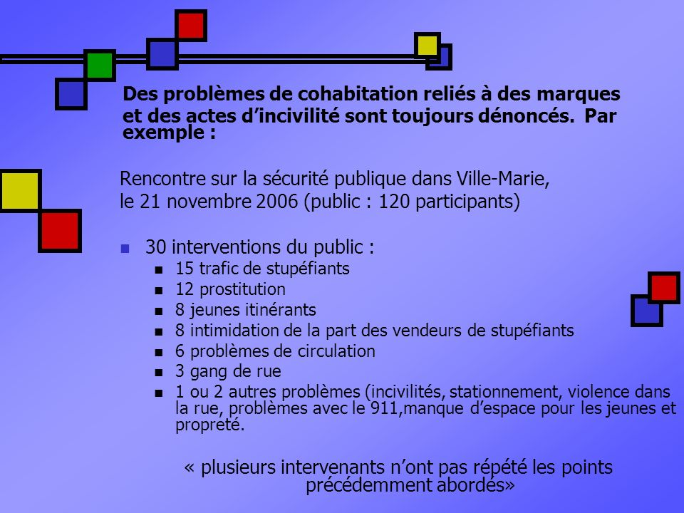 Rencontre sur la sécurité publique dans Ville-Marie,