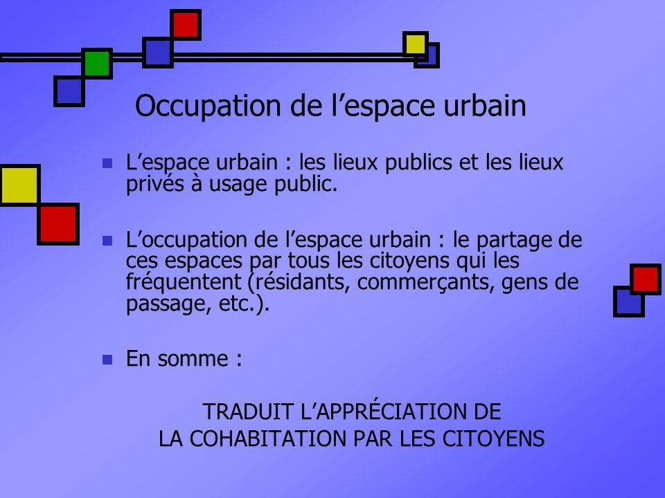 Occupation de l'espace urbain