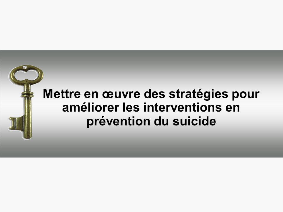 Mettre en œuvre des stratégies pour améliorer les interventions en prévention du suicide