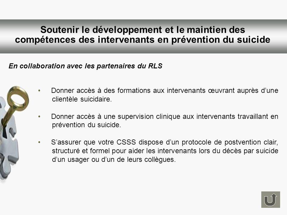 Soutenir le développement et le maintien des compétences des intervenants en prévention du suicide
