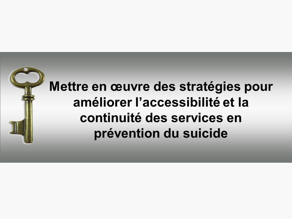 Mettre en œuvre des stratégies pour améliorer l'accessibilité et la continuité des services en prévention du suicide