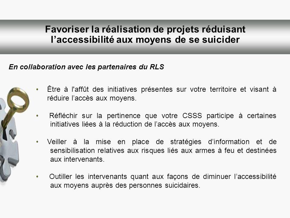 Favoriser la réalisation de projets réduisant l'accessibilité aux moyens de se suicider