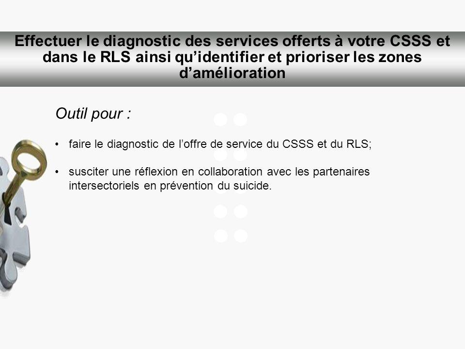 Effectuer le diagnostic des services offerts à votre CSSS et dans le RLS ainsi qu'identifier et prioriser les zones d'amélioration