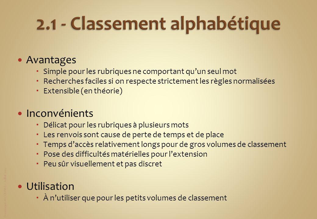 2.1 - Classement alphabétique