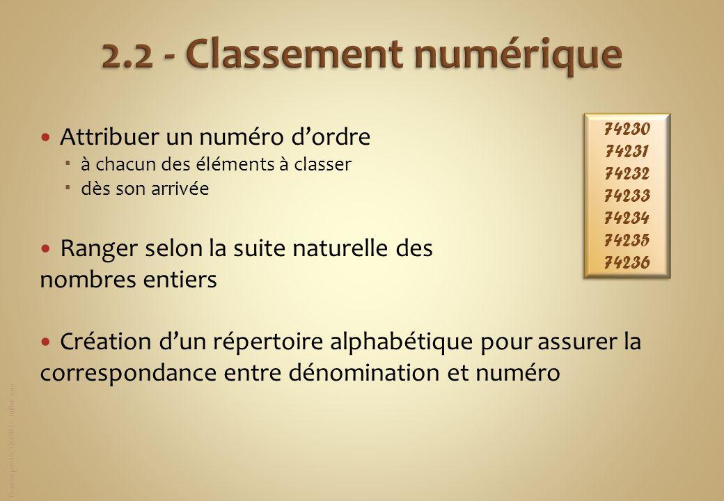 2.2 - Classement numérique