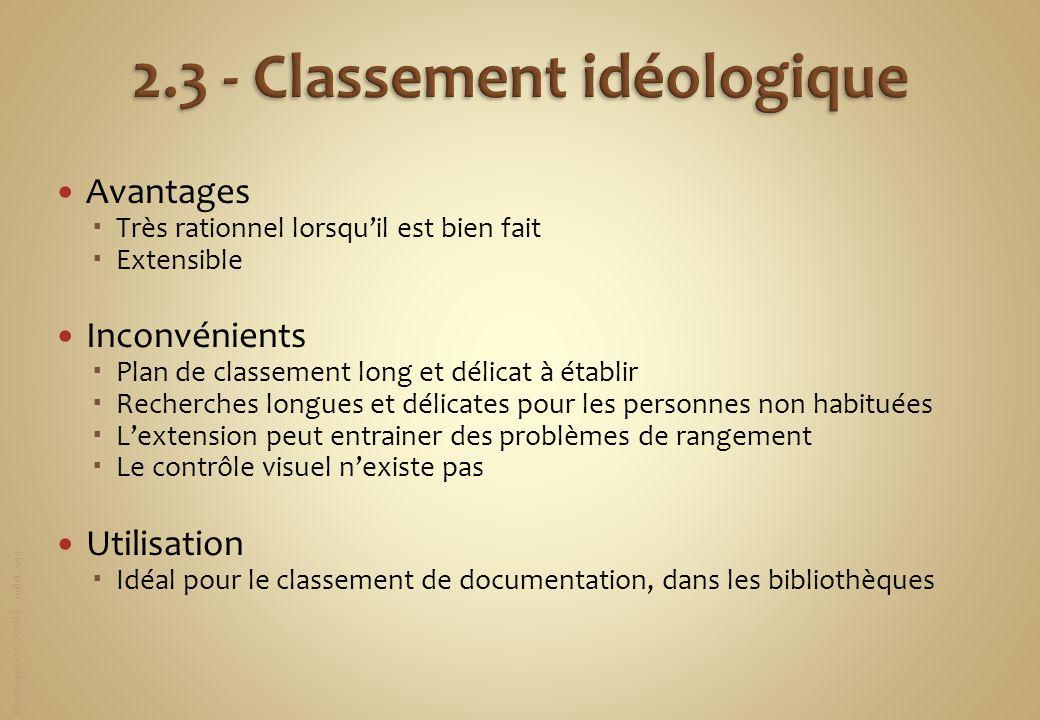 2.3 - Classement idéologique