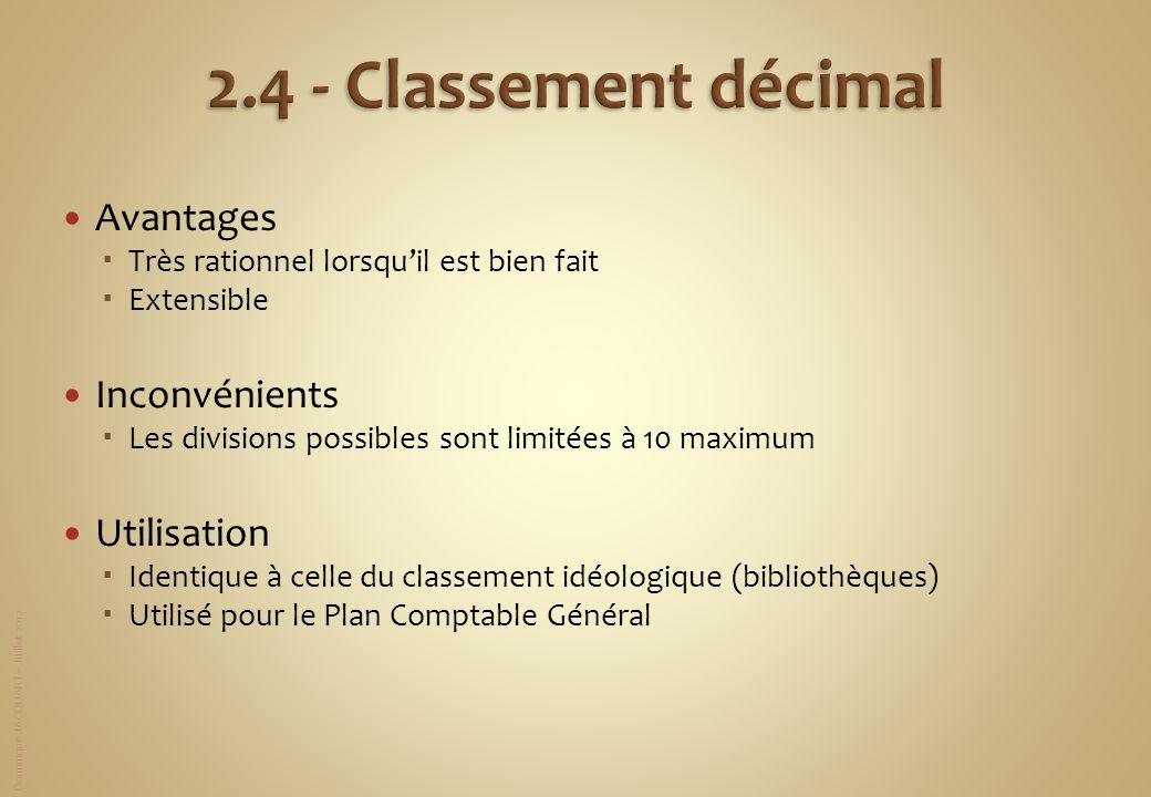 2.4 - Classement décimal Avantages Inconvénients Utilisation