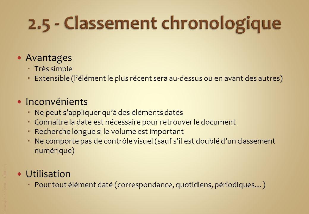2.5 - Classement chronologique