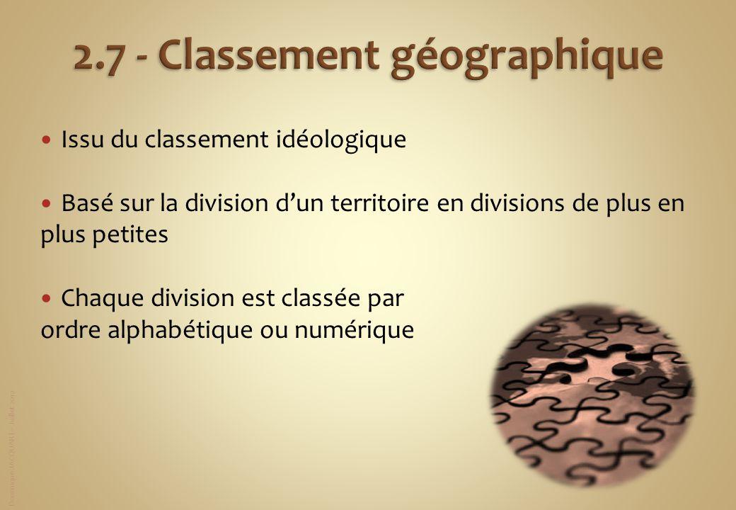 2.7 - Classement géographique