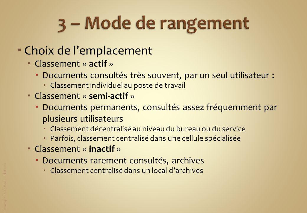 3 – Mode de rangement Choix de l'emplacement Classement « actif »
