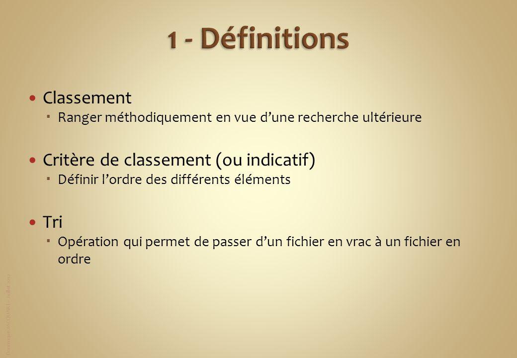 1 - Définitions Classement Critère de classement (ou indicatif) Tri