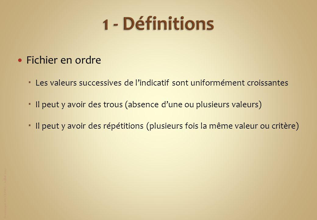 1 - Définitions Fichier en ordre