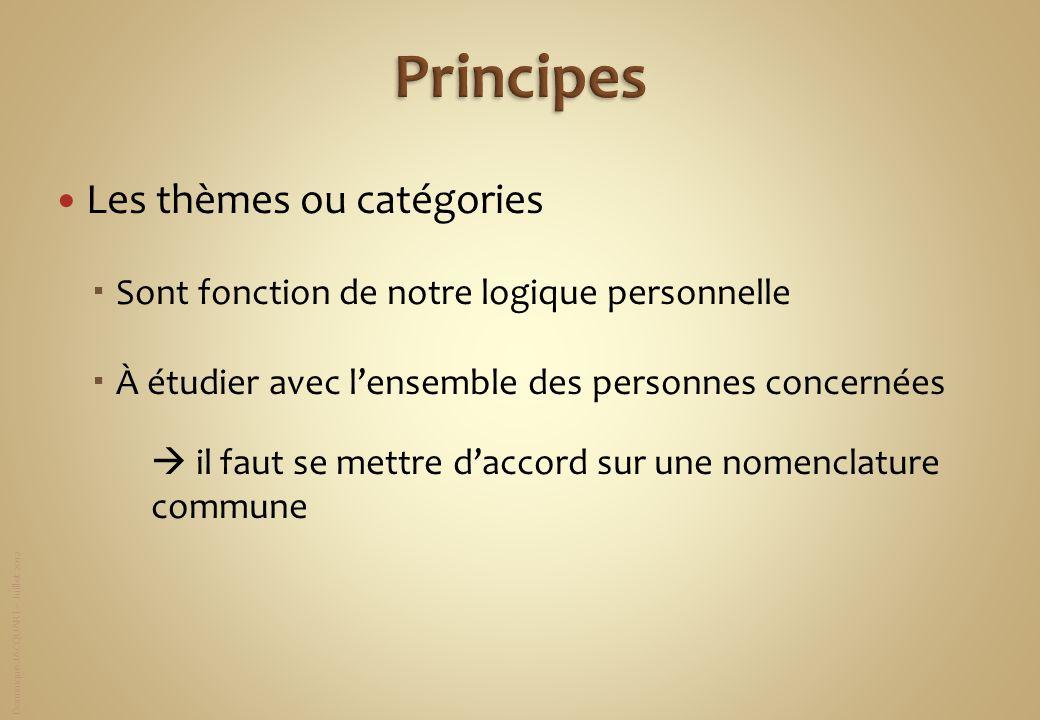 Principes Les thèmes ou catégories