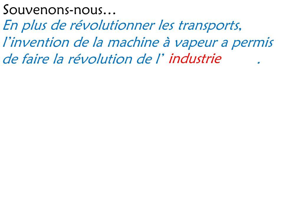 Souvenons-nous… En plus de révolutionner les transports, l'invention de la machine à vapeur a permis de faire la révolution de l' .