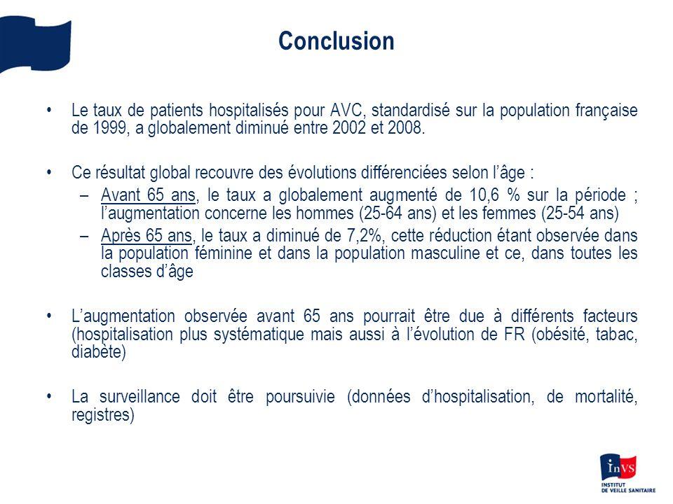 ConclusionLe taux de patients hospitalisés pour AVC, standardisé sur la population française de 1999, a globalement diminué entre 2002 et 2008.