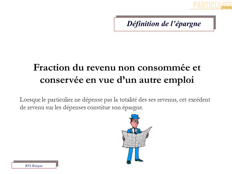 Fraction du revenu non consommée et conservée en vue d'un autre emploi