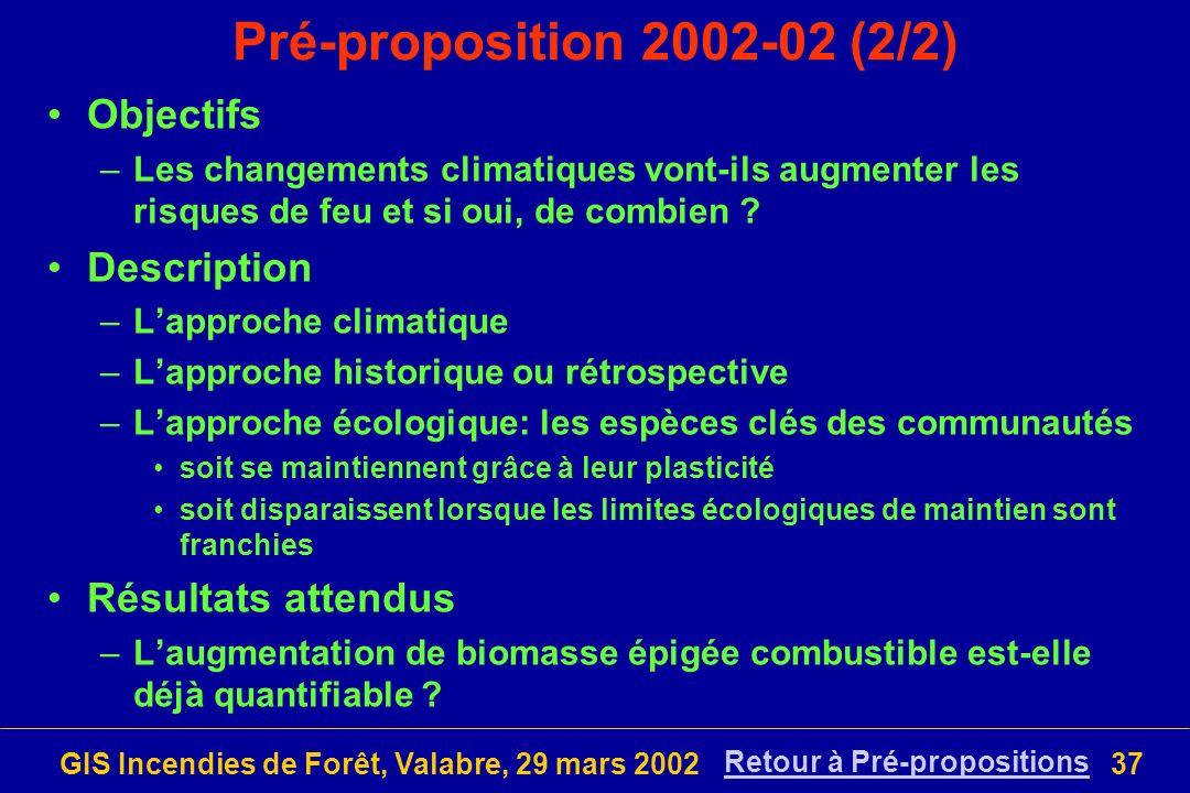 Pré-proposition 2002-02 (2/2) Objectifs Description Résultats attendus