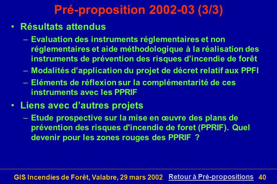 Pré-proposition 2002-03 (3/3) Résultats attendus