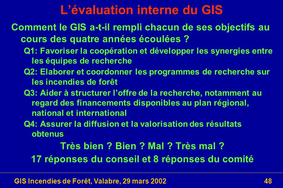 L'évaluation interne du GIS