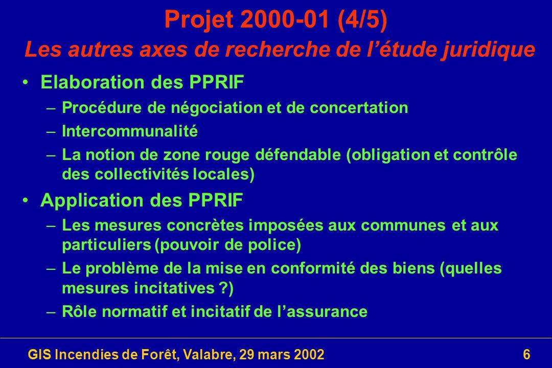 Projet 2000-01 (4/5) Les autres axes de recherche de l'étude juridique