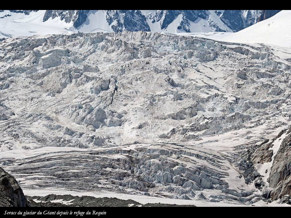 Seracs du glaciar du Géant depuis le refuge du Requin