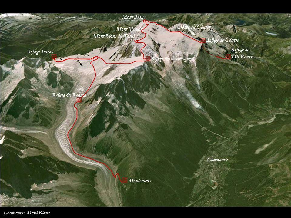 Mont Blanc Dôme du Gôuter. Mont Maudit. Mont Blanc du Tacul. Refuge de Gôuter. Refuge de. Tête Rousse.