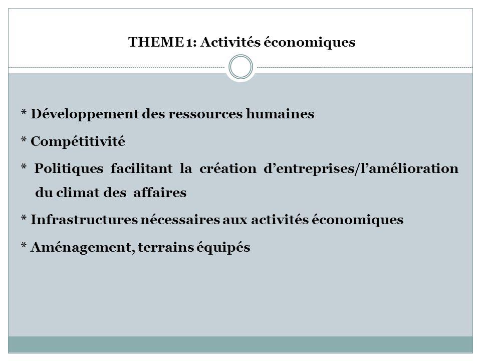 THEME 1: Activités économiques