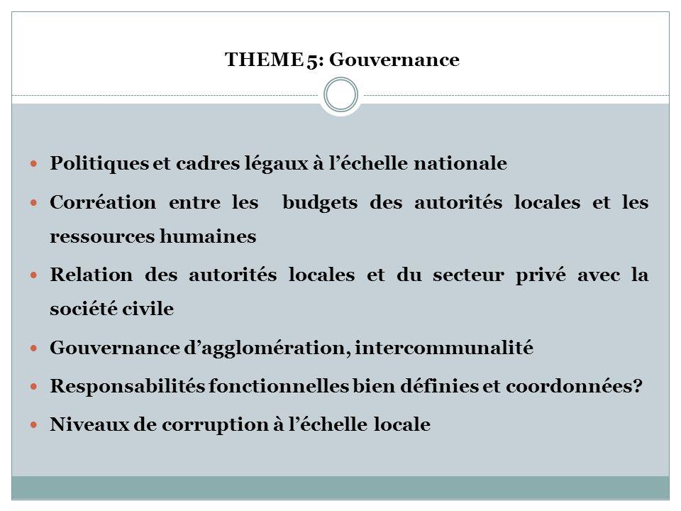 THEME 5: Gouvernance Politiques et cadres légaux à l'échelle nationale.