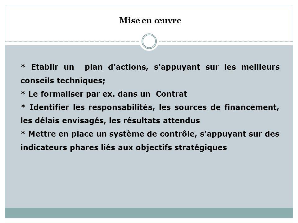 Mise en œuvre * Etablir un plan d'actions, s'appuyant sur les meilleurs conseils techniques; * Le formaliser par ex. dans un Contrat.