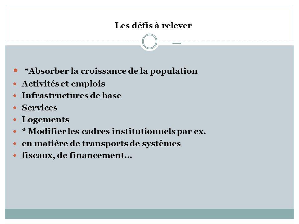 _ *Absorber la croissance de la population Les défis à relever