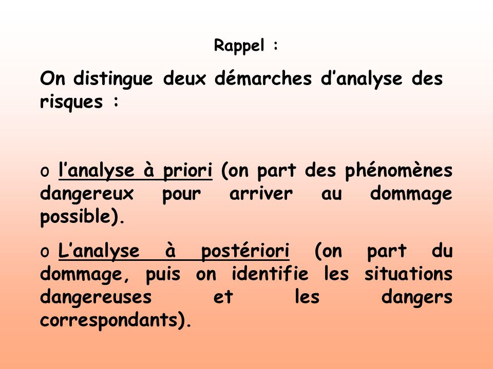 On distingue deux démarches d'analyse des risques :