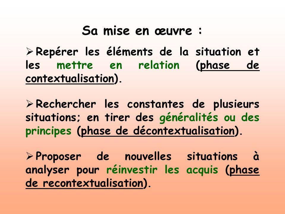 Sa mise en œuvre : Repérer les éléments de la situation et les mettre en relation (phase de contextualisation).