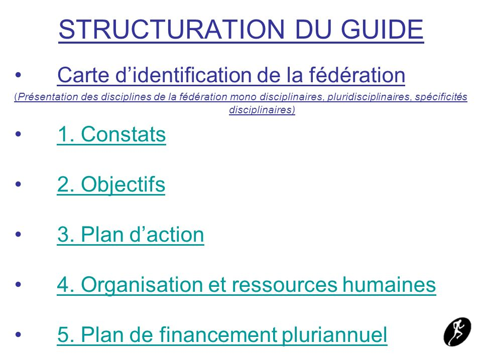 STRUCTURATION DU GUIDE