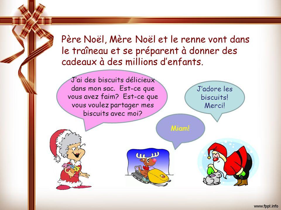 Père Noël, Mère Noël et le renne vont dans le traîneau et se préparent à donner des cadeaux à des millions d'enfants.
