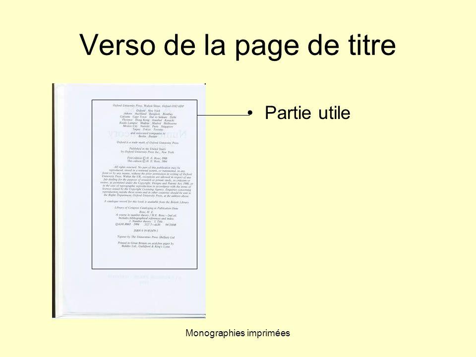 Verso de la page de titre