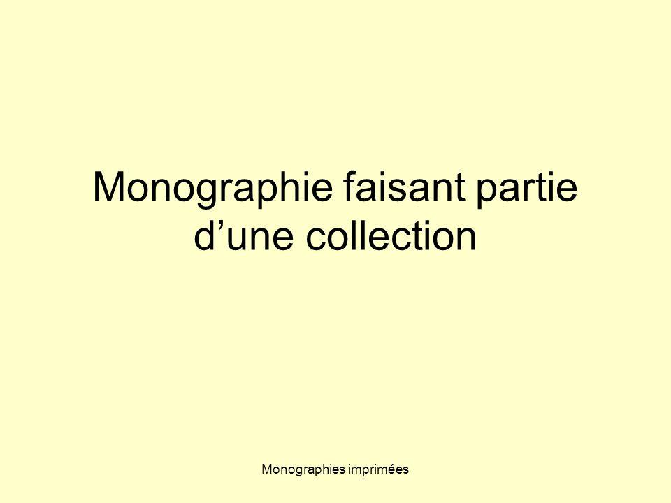 Monographie faisant partie d'une collection