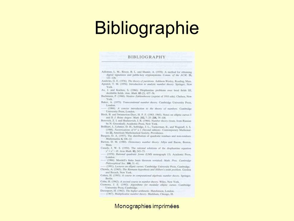 Monographies imprimées