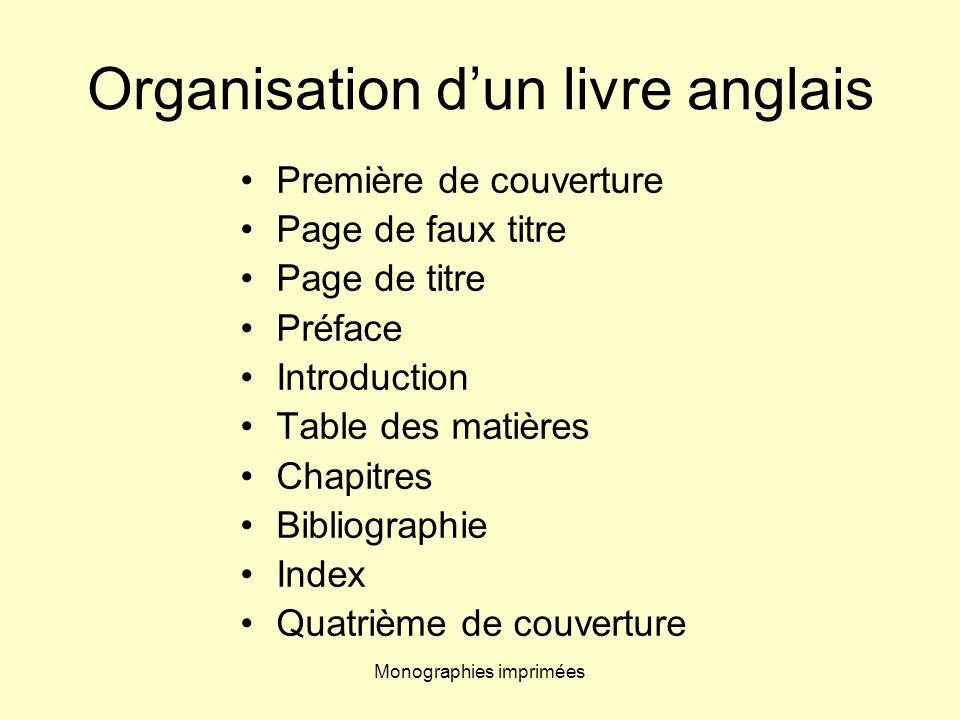 Organisation d'un livre anglais