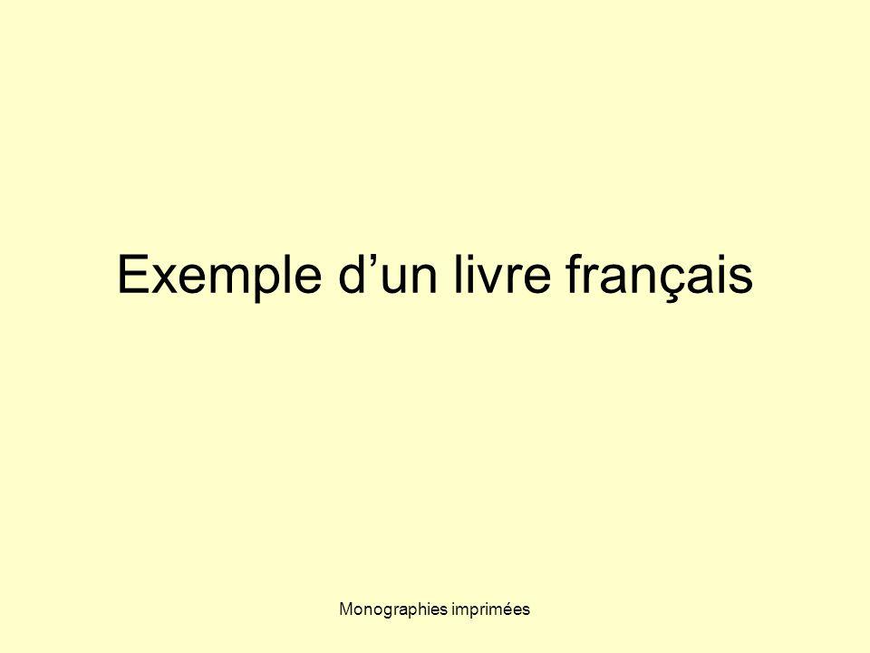 Exemple d'un livre français