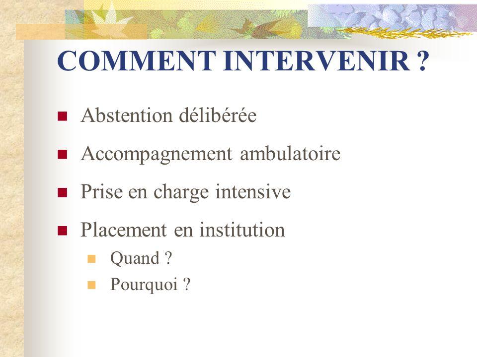 COMMENT INTERVENIR Abstention délibérée Accompagnement ambulatoire