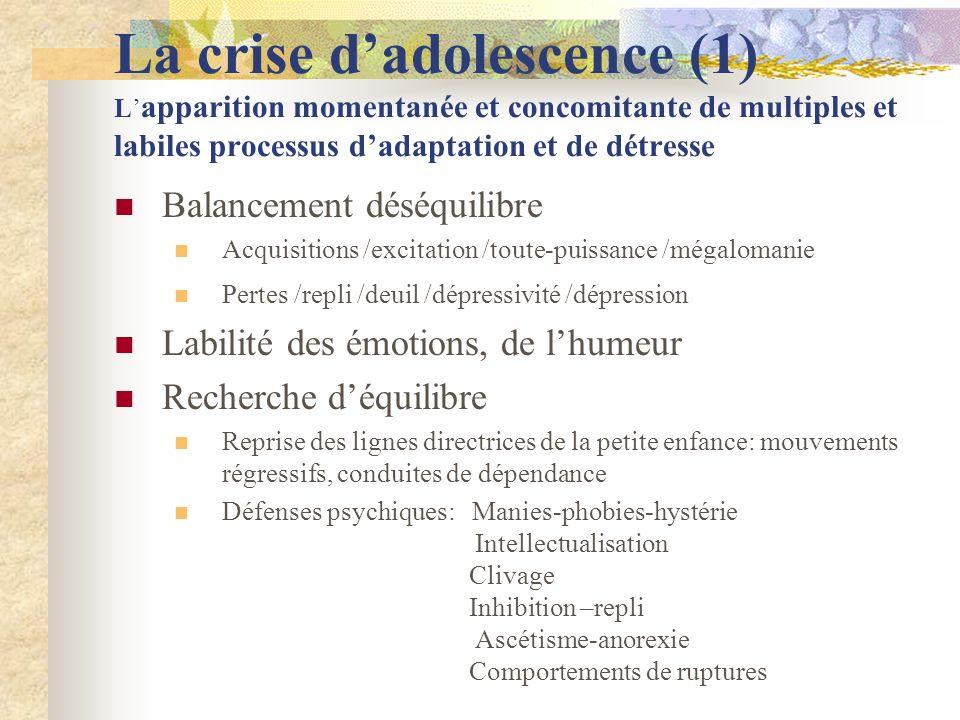 La crise d'adolescence (1) L'apparition momentanée et concomitante de multiples et labiles processus d'adaptation et de détresse