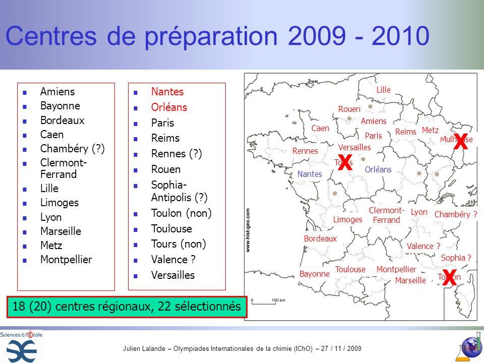 Centres de préparation 2009 - 2010