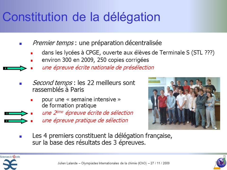 Constitution de la délégation