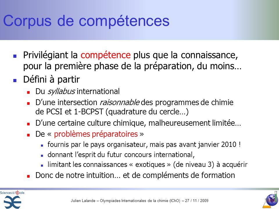 Corpus de compétencesPrivilégiant la compétence plus que la connaissance, pour la première phase de la préparation, du moins…