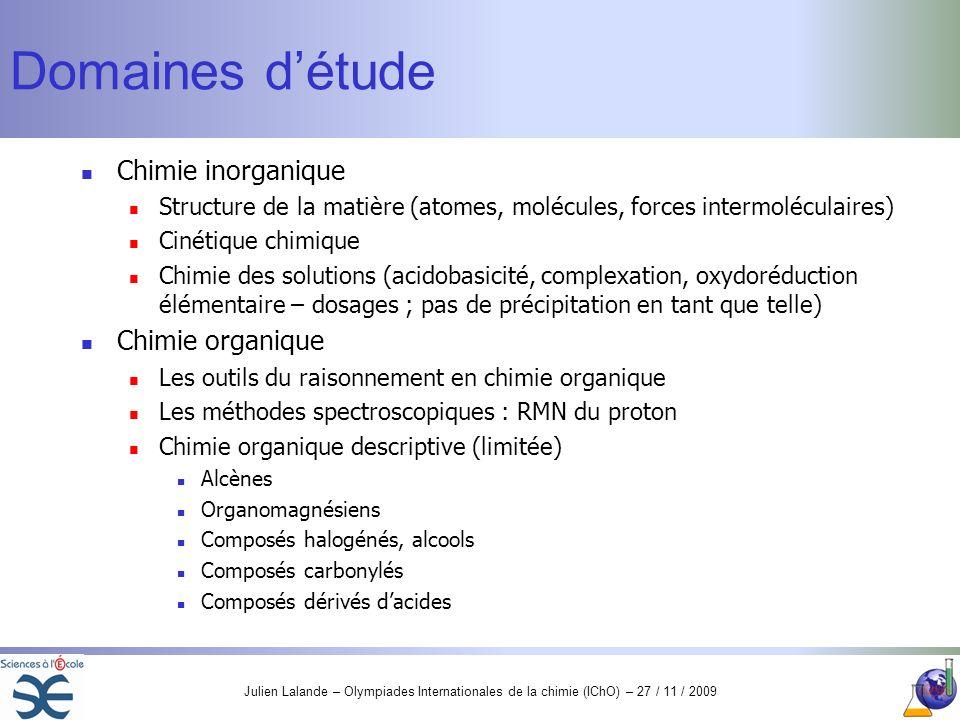 Domaines d'étude Chimie inorganique Chimie organique
