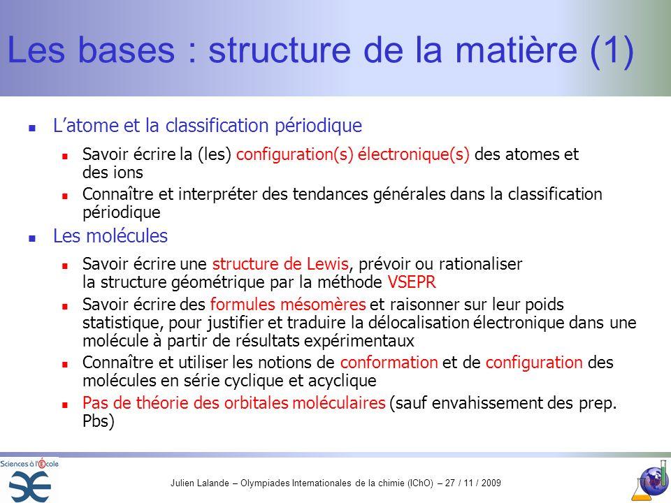 Les bases : structure de la matière (1)