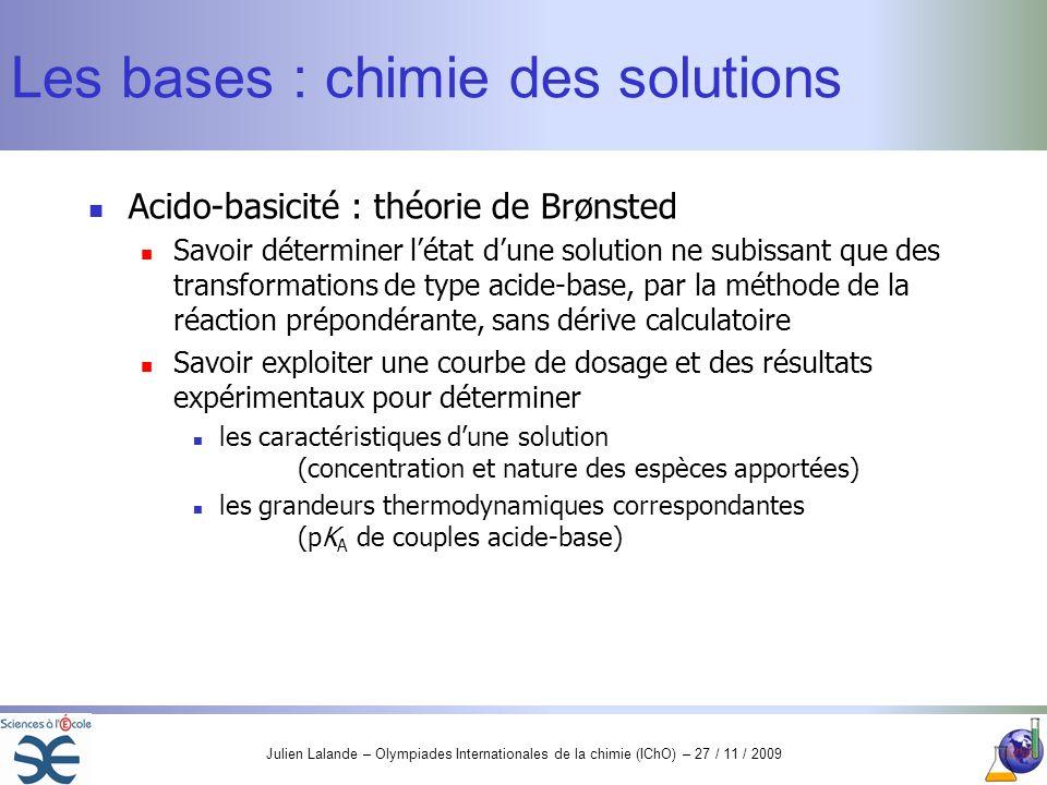 Les bases : chimie des solutions