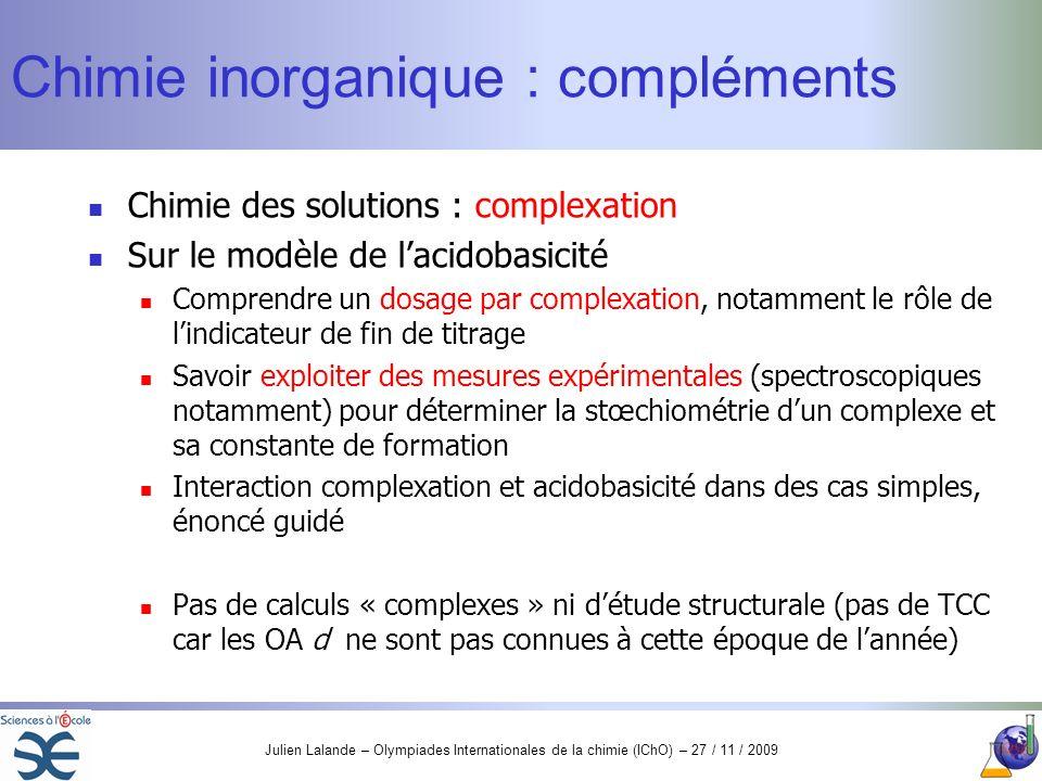 Chimie inorganique : compléments