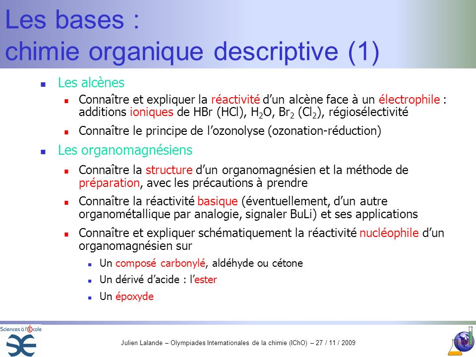 Les bases : chimie organique descriptive (1)